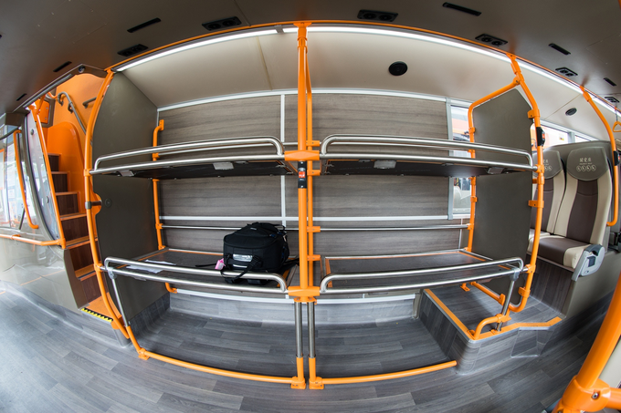 Three-level luggage racks cater for luggage of different types.